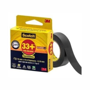 Fita Isolante 33+ 19mm x 10m Preta Scotch 3M