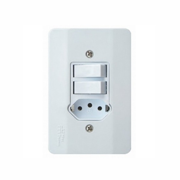 Interruptor 2 Teclas (1 Simples + 1 Paralelo) + 1 Tomada 2P+T 10A 250V Branco Millenium Mectronic 39136