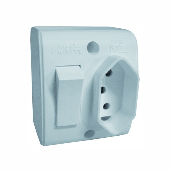 Interruptor Externo 1 Tecla Simples + 1 Tomada 2P+T 10A 250V Branco Mectronic 39195