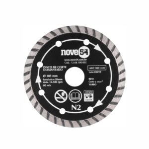 Disco de Corte Diamantado Turbo 105 x 20mm 4.1/8'' N2 Nove54